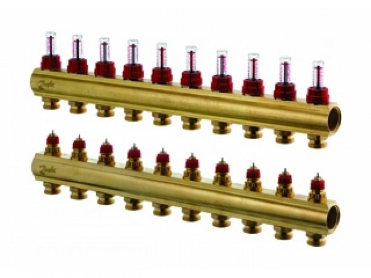 Danfoss FBH-Verteiler 10 Kreise, mit Durchflussanzeige