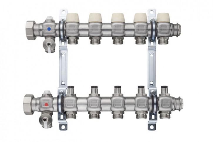 """Kermi x-net Verteiler 5/4"""" Standard-2 für 2 Kreise, Baulänge 205 mm"""