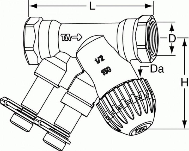 TA Kompaktregelventil TBV-C PN 16 DN 15, G 1/2, kvs 0,90 m3/h, LF