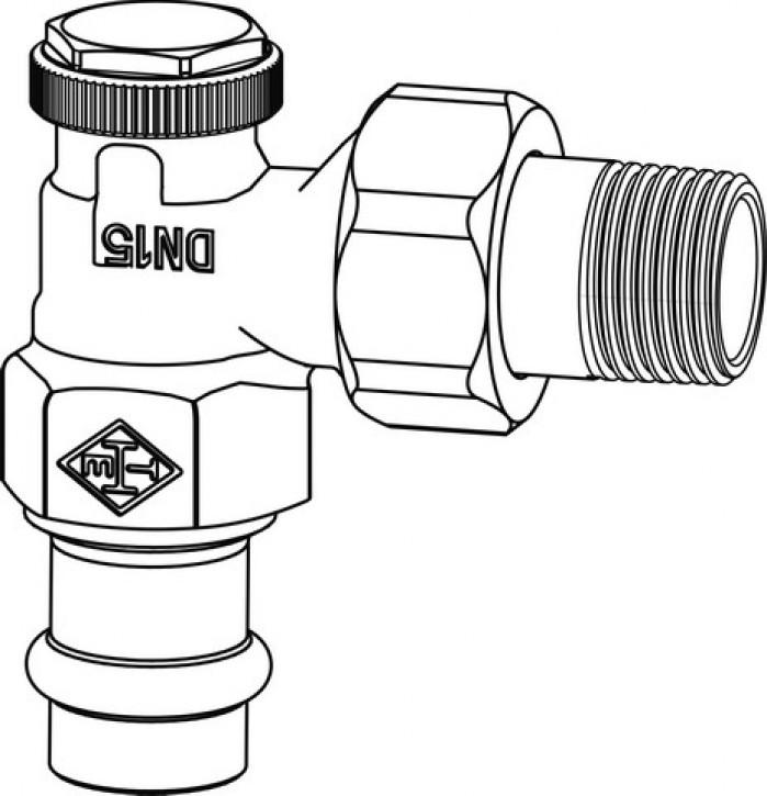 HEIMEIER Verschraubung Regutec, DN 15 Eckform, Viega Pressanschluss 15 mm