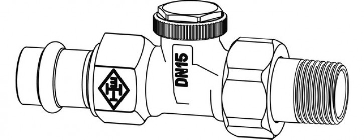 HEIMEIER Verschraubung Regutec, DN 15 Durchgang, Viega Pressanschluss 15 mm