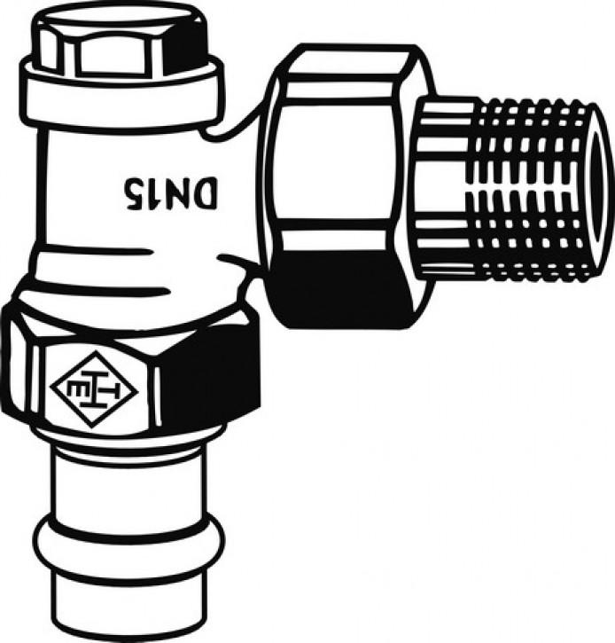 HEIMEIER Verschraubung Regulux, DN 15 Eckform, Viega Pressanschluss 15 mm