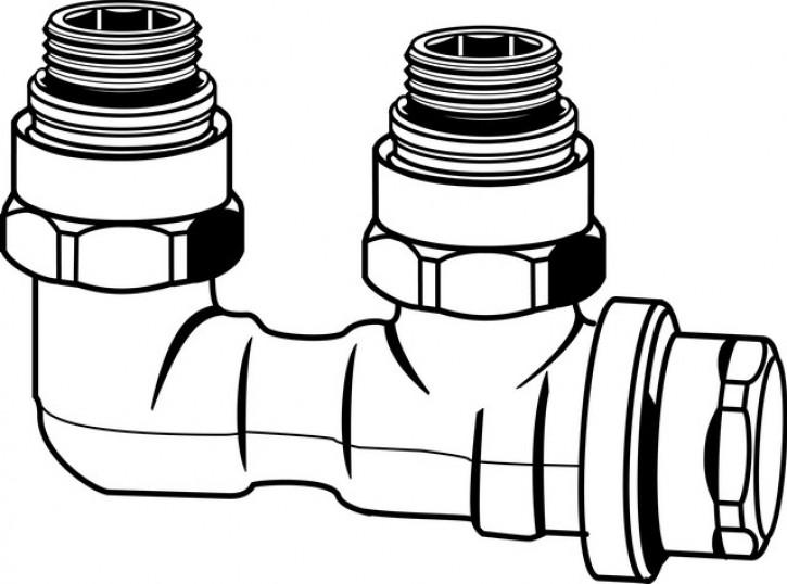 HEIMEIER Verschraubung Vekolux 2-Rohr Eckform, für VHK mit Rp 1/2 IG