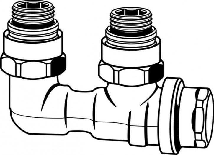 HEIMEIER Verschraubung Vekolux 1-Rohr Eckform, für VHK mit Rp 1/2 IG.