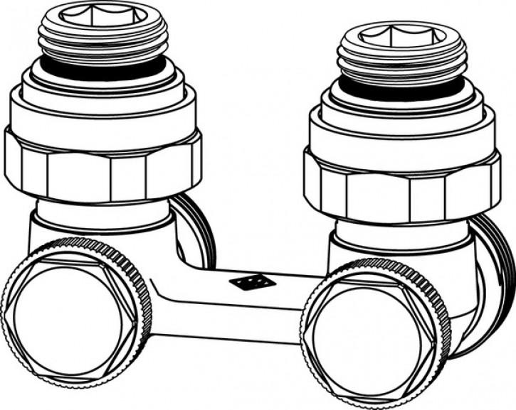 HEIMEIER Verschraubung Vekotec 2-Rohr Eckform, für VHK mit Rp 1/2 IG