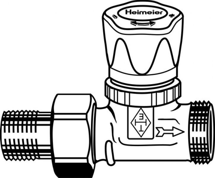 HEIMEIER Vorlauf-Regulierventil R1/2 Verschr.x G3/4 AG, m.Bauschutzkappe
