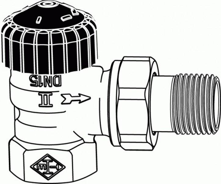 HEIMEIER Thermostat-Ventilunterteil Standard, Eckform, DN 10, vernickelt