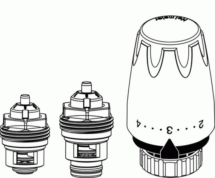 HEIMEIER Retro S - Set DN 15 Th.-Oberteil und Thermostat-Kopf DX