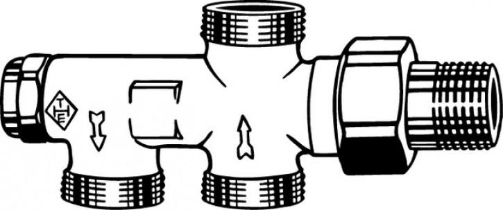 HEIMEIER Zweirohrverteiler Duolux mit Absperrung u.Voreinst.,2-Rohr-System