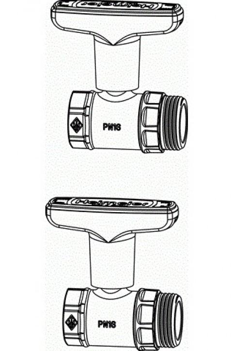 HEIMEIER Anschlussset für Dynacon Globo Kugelhähne f. Vor- und Rücklauf
