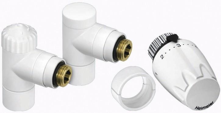 HEIMEIER Thermostatventil u. RLV, Set Design-Edition Eck, weiß RAL 9016