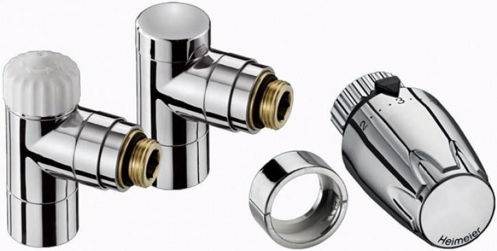 HEIMEIER Thermostatventil u. RLV, Set Design-Edition Eck, chrom